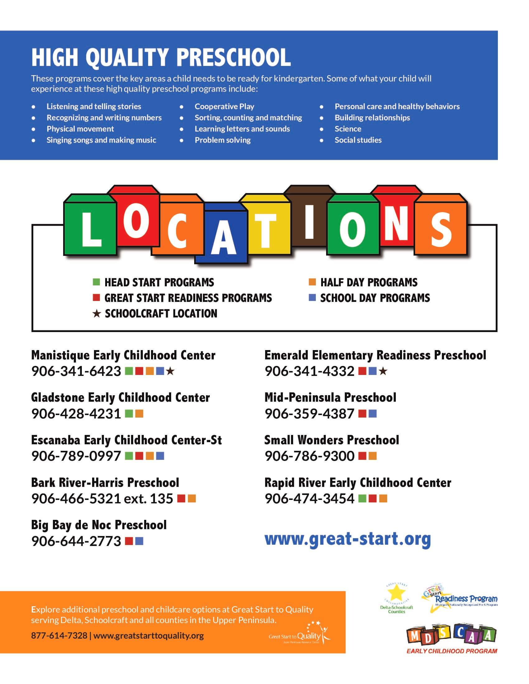 Delta free preschool locations 2018-2019